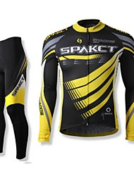 cheap -SPAKCT Men's Long Sleeve Cycling Jersey with Tights - Black Bike Clothing Suits, Quick Dry, Breathable