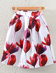 billige -Dame A-linje Nederdele Blomstret, Jacquard