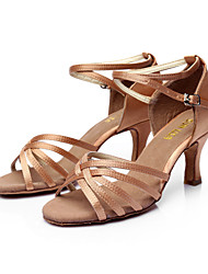 cheap -Women's Latin Shoes / Ballroom Shoes / Salsa Shoes PU Leather / Satin Sandal Buckle Customized Heel Customizable Dance Shoes Silver / Brown / Gold