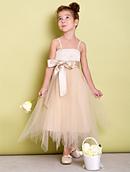 A-Line Asymmetrical Flower Girl Dress - Tulle Spaghetti Straps with Ribbon by LAN TING BRIDE®