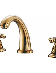 abordables -dos asas generalizada tres agujeros en ti-PVD grifo de lavabo del baño