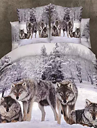 cheap -Duvet Cover Sets 3D Cotton Reactive Print 4 Piece