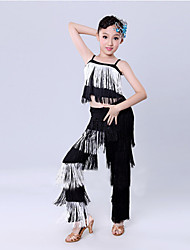 cheap -Latin Dance Outfits Children's Training Performance Polyester Tassel Sleeveless Natural Top Pants