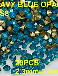 cheap -SS8 20pcs/lot 2.3mm-2.5mm Blue Opal Rhinestone Golden Pointback Nail 3D Rhinestones Decoration For Nail Jewelry