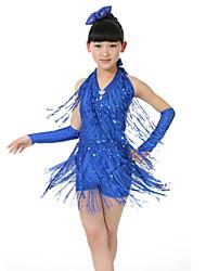 Devemos nós dançarinos de dança latina crianças roupas de poliéster / borracha roupas de dança de crianças