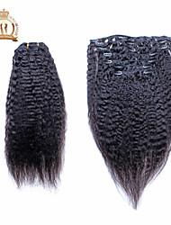 Недорогие -солнечная королева 10 «-20» зажим для волос людей в евразийских волосах Kinky прямых волос выдвижение человеческих 7pcs 120g волос ткет