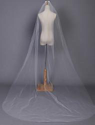 Недорогие -Свадебные вуали Один слой Соборная фата Закруглённый край 118,11 в (300см) Тюль Белый Цвет слоновой кости