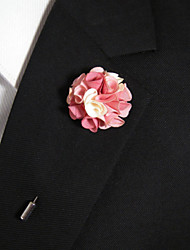 cheap -Men's Casual Pink And White Silk Goods Brooch Classical Feminine Style