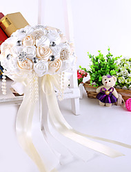 cheap -Elegant Hand Made Decorative Silk Rose Flower Bride Bridal Crystal Wedding Bouquets Accessaries Party Decor