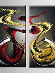 cheap -Hand-Painted Still Life Vertical, Modern Canvas Oil Painting Home Decoration Two Panels