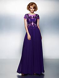 A-linje Gulvlang Chiffon Formel aften Kjole med Applikeret broderi ved TS Couture®