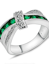 cheap -Women's Zircon Statement Ring - Fashion Green Ring For Wedding Party Daily Casual Sports