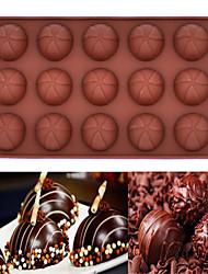 Недорогие -15 отверстий силиконовые формы торт шоколадный мусс выпечка плесень (круглый шоколадный) (цвет случайный)