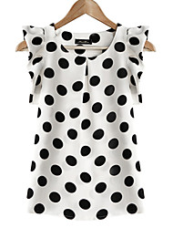 cheap -Women's Daily Plus Size Casual Summer Blouse,Polka Dot Round Neck Short Sleeves Polyester Translucent