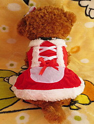 Chien Robe Vêtements pour Chien Noël Blanc/Rouge Costume Pour les animaux domestiques