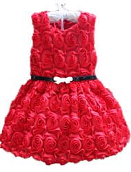 Menina de Vestido Floral Todas as Estações Algodão Acrílico Sem Manga