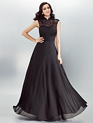 A-Line High Neck Floor Length Chiffon Formal Evening Dress with Draping Lace Pearl Detailing Ruching by TS Couture®