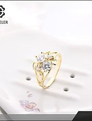Statement-ringe Mode Zirkonium Kvadratisk Zirconium Platin Belagt Simuleret diamant 24K Plated Gold Smykker For Bryllup Fest 1 Stk.