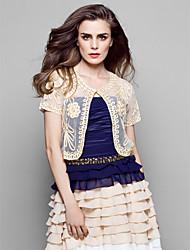 pelliccia gilet boleros terylene nero / bianco / champagne / multi-color (più colori) bolero scrollata di spalle