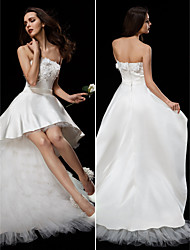 Ball Gown Strapless Asymmetrical Satin Tulle Wedding Dress with Appliques Sash / Ribbon Flower by LAN TING BRIDE®