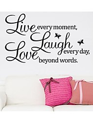 cheap -Live Every Moment Laugh And Love Quote Wall Decal Zooyoo8023 Decorative  Removable Vinyl Wall Sticker