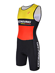 cheap -GETMOVING Men's Women's Sleeveless Tri Suit Bike Red/Yellow 12#---Anatomic Design, Breathable