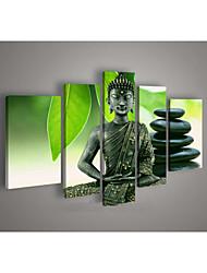parede arte religião pintura a óleo buddha pintado à mão na lona verde 5pcs / set sem moldura