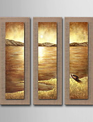 cheap -Oil Painting Decoration Abstract Seascape Hand Painted Natural linen with Stretched Framed - Set of 3