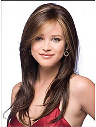 cheap -beautiful long brown mix straight hair wig women s synthetic wigs free shipping