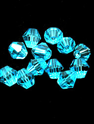 Beadia 100PCS Glass Facetted Crystal Beads 6mm Diamond Bicone Shape Turquoise Color DIY Spacer Loose Beads