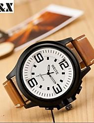 Недорогие -Мужской Наручные часы Кварцевый Календарь Кожа Группа Черный / Коричневый бренд-
