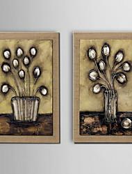 pintura a óleo decoração com flores pintadas à mão de linho natural com esticada enquadrado - conjunto de 2