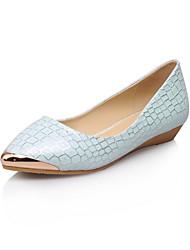 お買い得  -女性用 靴 レザーレット 春 / 夏 フラットヒール チェック / メタルトゥ ホワイト / ブルー / パーティー