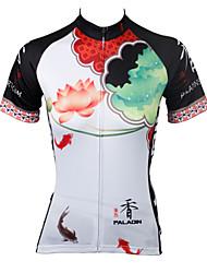 billige -ILPALADINO Dame Kortærmet Cykeltrøje - Hvid / Regnbue Cykel Trøje, Hurtigtørrende, Ultraviolet Resistent, Åndbart Polyester