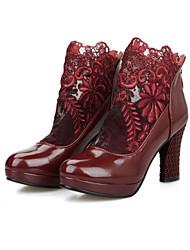 Недорогие -Жен. Обувь Полиуретан Весна Осень Удобная обувь Модная обувь Ботинки Для прогулок На толстом каблуке Платформа Круглый носок Молнии