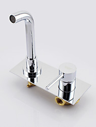 cheap -Contemporary Wall Mounted Ceramic Valve Two Holes Two Handles Two Holes Chrome, Bathroom Sink Faucet