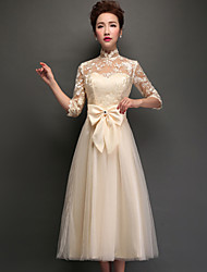 cheap -A-Line High Neck Tea Length Tulle Bridesmaid Dress with Appliques / Lace by LAN TING Express