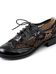 povoljno -Žene Cipele Umjetna koža Proljeće Jesen Kockasta potpetica Blok pete Kombinacija materijala za Ured i karijera Formalne prilike Crn Braon
