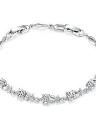 baratos -Mulheres Cristal Tênis Pulseiras - Cristal, Zircônia Cubica Luxo Pulseiras Prata Para Casamento / Festa / Diário