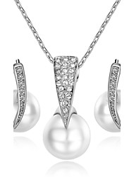 Women's Jewelry Set Simple Style Wedding Party Daily Casual Pearl Crystal Imitation Pearl Cubic Zirconia Alloy Earrings Necklaces