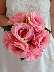 abordables -Fleurs de mariage Rond / Forme libre Roses Bouquets Mariage / Le Party / soirée Amande / Jaune / Fuchsia / Rose / Vert / Pourpre / Orange