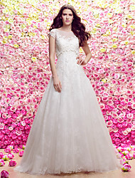cheap -A-Line Princess Scoop Neck Sweep / Brush Train Lace Tulle Wedding Dress with Appliques by LAN TING BRIDE®