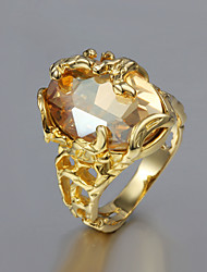 cheap -Women's Hollow Out Statement Ring - Gold Plated Fashion 6 / 7 / 8 Golden For Wedding / Party / Daily / Zircon