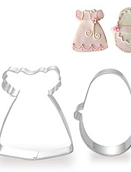 2 Pieces Set of Baby Girl's Dress and Shoe Shape Cookie Cutters Fruit Cut Molds Stainless Steel