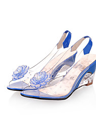 cheap -Women's Shoes Leatherette Spring / Summer Translucent Heel / Wedge Heel Pearl Yellow / Red / Blue