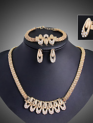 cheap -Jewelry Set Vintage Party Work Casual Statement Jewelry Link/Chain Party Gemstone & Crystal Cubic Zirconia Alloy Bracelet Necklace