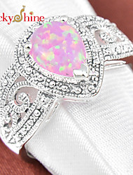 Lucky Shine Women's Men's Unisex Silver Antique Rings With Gemstone Fire Pink Opal Crystal Mother Father Gift