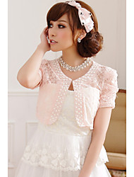 cheap -Short Sleeve Polyester / Lace Wedding / Party Evening / Casual Wedding  Wraps With Embroidery / Lace Shrugs