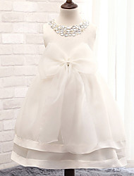 cheap -Ball Gown Tea Length Flower Girl Dress - Cotton Sequined Sleeveless Jewel Neck with Ribbon by YDN