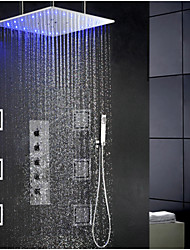 cheap -Contemporary Modern Shower System Rain Shower Widespread Handshower Included LED Ceramic Valve Single Handle Four Holes Chrome, Shower